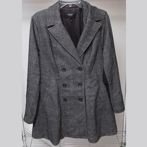 TORRID BLACK WHITE HERRINGBONE WOOL COAT 1X